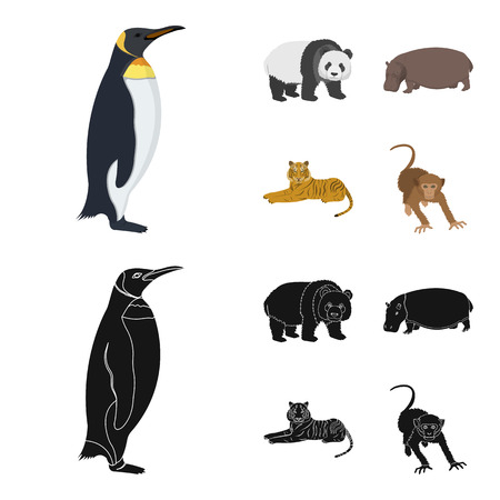 Bamboo bear, hippopotamus, wild animal tiger, monkey . Wild animal set collection icons in cartoon,black style vector symbol stock illustration web.