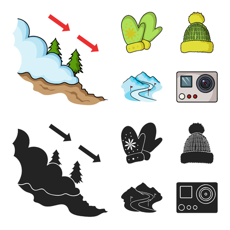 Mittens, warm hat, ski piste, motion camera. Ski resort set collection icons in cartoon,black style vector symbol stock illustration web.