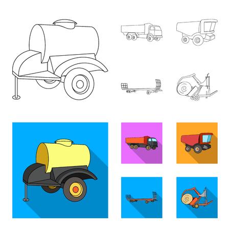 Trailer with a barrel, truck and other agricultural devices. Agricultural machinery set collection icons in outline,flat style vector symbol stock illustration web. Illustration