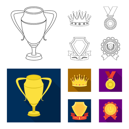 A silver cup, a gold crown with diamonds, a medal of the laureate, a gold sign with a red ribbon.Awards and trophies set collection icons in outline,flat style vector symbol stock illustration web.