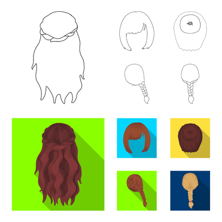 Kara, red braid and other types of hairstyles. Back hairstyle set collection icons in outline,flat style vector symbol stock illustration web.