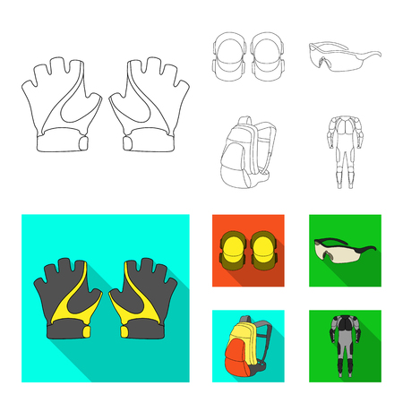 Gloves, elbow pads, goggles, cyclist backpack.Cyclist outfit set collection icons in outline,flat style vector symbol stock illustration web. Illustration