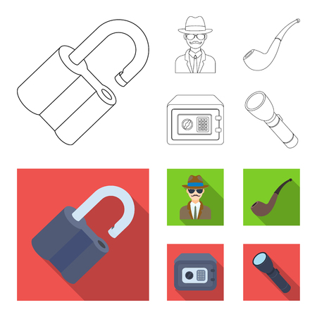 Lock hacked, safe, smoking pipe, private detective.Detective set collection icons in outline,flat style vector symbol stock illustration web.
