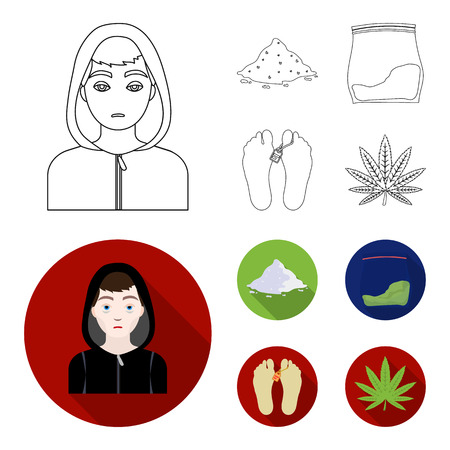 Addict, cocaine, marijuana, corpse.Drug set collection icons in outline,flat style vector symbol stock illustration web. Illustration