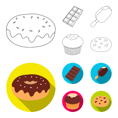 Donut with chocolate, zskimo, shokolpada tile, biscuit.Chocolate desserts set collection icons in outline,flat style vector symbol stock illustration web. Illustration