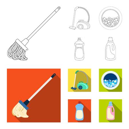 Une vadrouille avec une poignée pour laver les sols, un aspirateur vert, une fenêtre d'une machine à laver avec de l'eau et de la mousse, une bouteille avec un agent de nettoyage. Nettoyage des icônes de la collection de jeu dans le contour, le style plat vecteur symbole stock illustration web.