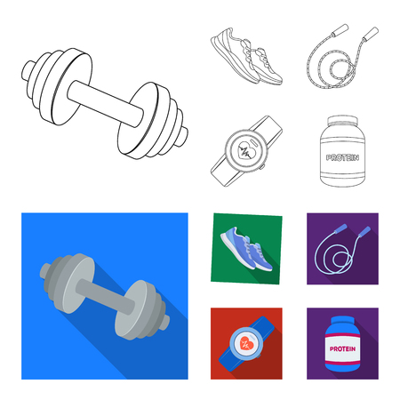 Dumbbell, rope and other equipment for training.Gym and workout set collection icons in outline,flat style vector symbol stock illustration web. Illustration