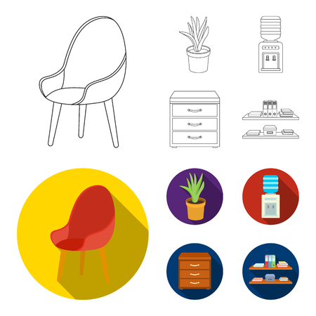 A red chair with a comfortable back, an aloe flower in a pot, an apparatus with clean water, a cabinet for office papers. Office Furniture set collection icons in outline,flat style vector symbol stock illustration web.