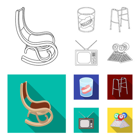 Denture, rocking chair, walker, old TV.Old age set collection icons in outline,flat style vector symbol stock illustration web.