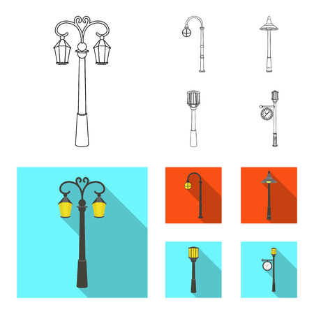 Lamppost in retro style,modern lantern, torch and other types of streetlights. Lamppost set collection icons in outline,flat style vector symbol stock illustration web. Illustration