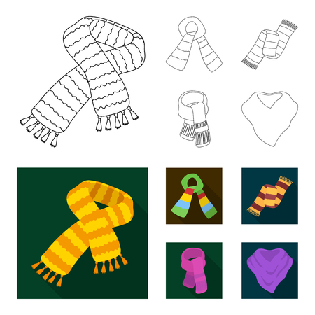 Various kinds of scarves, scarves and shawls. Scarves and shawls set collection icons in outline,flat style vector symbol stock illustration web.