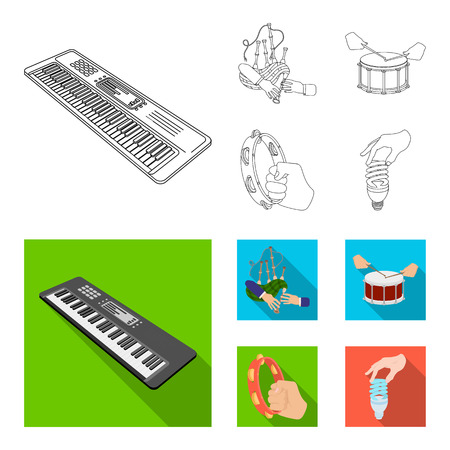 Synthesizer melodies, bagpipes Scotch and other web icon in outline,flat style. drum, drum roll, tambourine in hand icons in set collection.