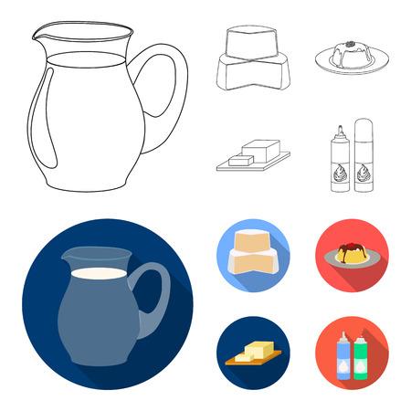 Lait, calcium, produit, nourriture.Produit de lait et icônes de collection de jeu sucré dans le contour, plat style vecteur symbole stock illustration web.