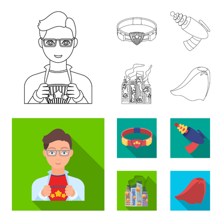 Man, young, glasses, and other web icon in outline,flat style. belt, gun icons in set collection.