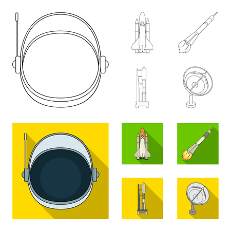 A spaceship in space, a cargo shuttle, A launch pad, an astronaut helmet. Space technology set collection icons in outline,flat style vector symbol stock illustration web. Vector Illustration