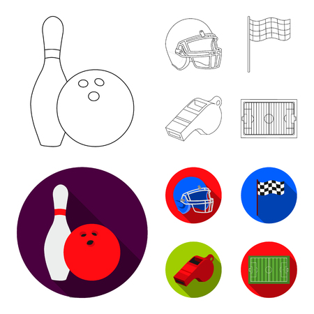 Bowl and bowling pin for bowling, protective helmet for playing baseball, checkbox, referee, whistle for coach or referee. Sport set collection icons in outline,flat ,flat style vector symbol stock illustration web.