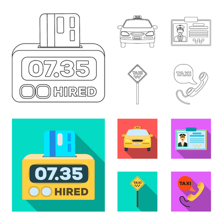 The counter of the fare in the taxi, the taxi car, the driver badge, the parking lot of the car. Taxi set collection icons in outline,flat style vector symbol stock illustration web.