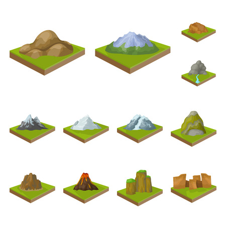 Mountains, massive cartoon icons in set collection for design. The surface of the earth vector isometric symbol stock web illustration. Foto de archivo - 106268929