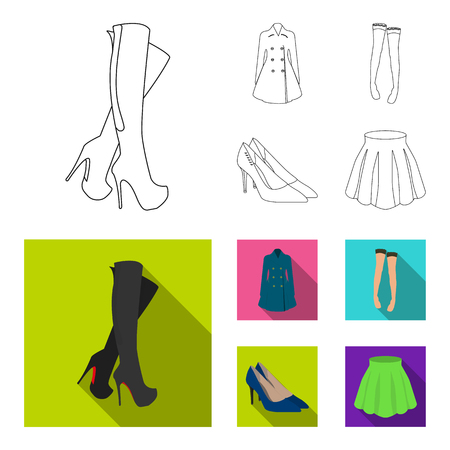 Women high boots, coats on buttons, stockings with a rubber band with a pattern, high-heeled shoes. Women clothing set collection icons in outline,flat style vector symbol stock illustration web.