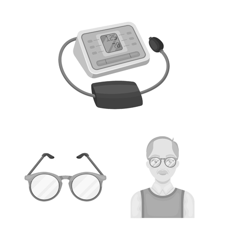 Human old age monochrome icons in set collection for design. Pensioner, period of life bitmap symbol stock web illustration.