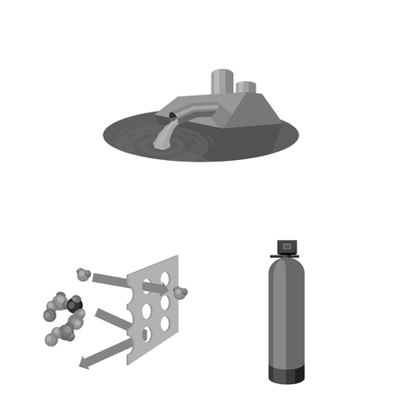 Water filtration system monochrome icons in set collection for design. Cleaning equipment bitmap symbol stock web illustration.