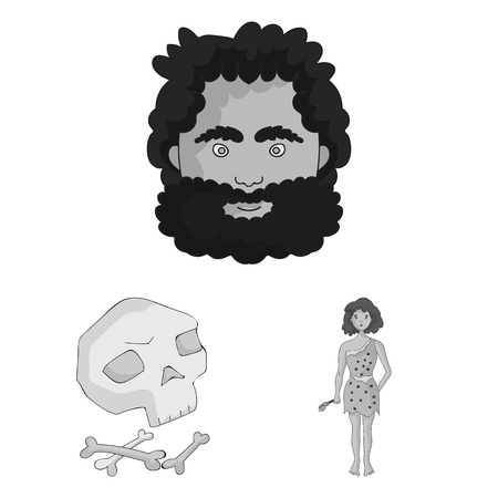 Life in the Stone Age monochrome icons in set collection for design. Ancient people bitmap symbol stock web illustration. Фото со стока