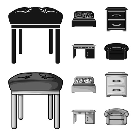 Interior, design, bed, bedroom .Furniture and home interiorset collection icons in black,monochrom style bitmap symbol stock illustration web. Stockfoto