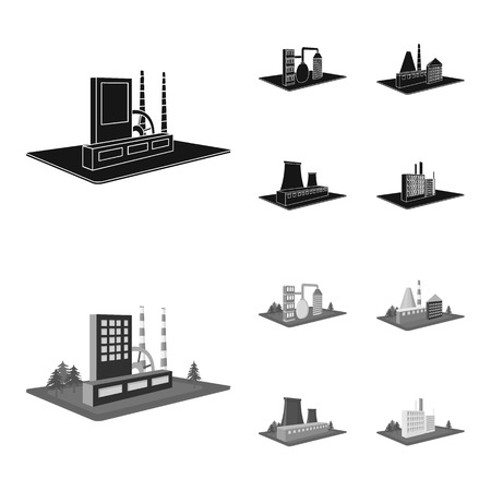 Processing factory,metallurgical plant. Factory and industry set collection icons in black,monochrom style isometric bitmap symbol stock illustration web.