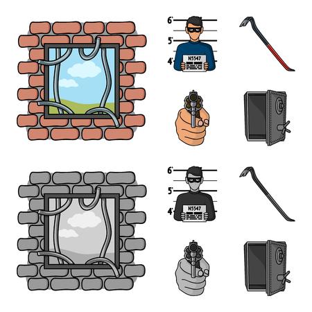 Photo of criminal, scrap, open safe, directional gun.Crime set collection icons in cartoon,monochrome style bitmap symbol stock illustration . Stock Photo