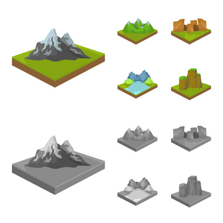 Mountains, rocks and landscape. Relief and mountains set collection icons in cartoon,monochrome style isometric bitmap symbol stock illustration .