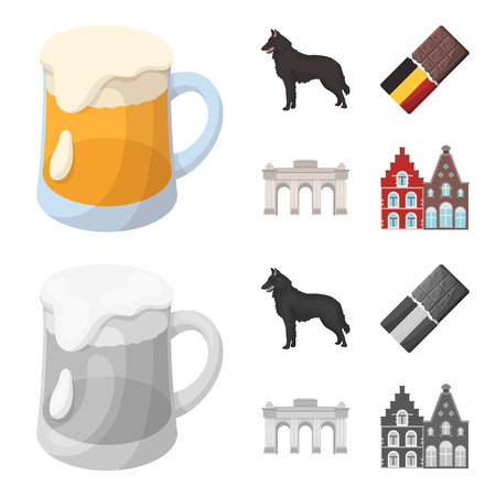 Chocolate, cathedral and other symbols of the country.Belgium set collection icons in cartoon,monochrome style bitmap symbol stock illustration .