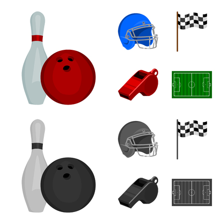 Bowl and bowling pin for bowling, protective helmet for playing baseball, checkbox, referee, whistle for coach or referee. Sport set collection icons in cartoon,monochrome ,flat style bitmap symbol stock illustration .