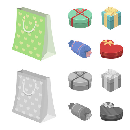 Gift box with bow, gift bag.Gifts and certificates set collection icons in cartoon,monochrome style bitmap symbol stock illustration . Stock Photo
