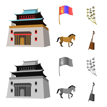 National flag, horse, musical instrument, steppe plant. Mongolia set collection icons in cartoon,monochrome style bitmap symbol stock illustration .
