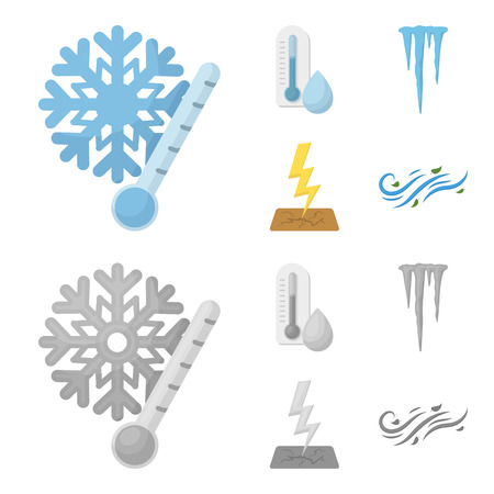 Humidity, icicles, thunderbolt, windy weather. Weather set collection icons in cartoon,monochrome style bitmap symbol stock illustration .