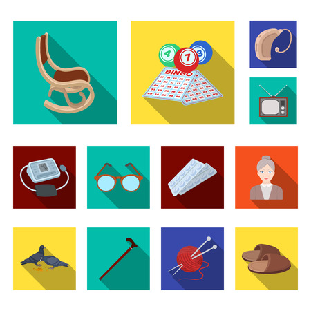 Human old age flat icons in set collection for design. Pensioner, period of life bitmap symbol stock  illustration.
