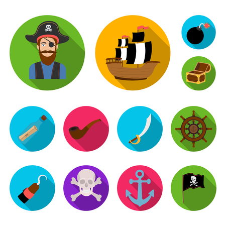 Pirate, sea robber flat icons in set collection for design. Treasures, attributes bitmap symbol stock  illustration.
