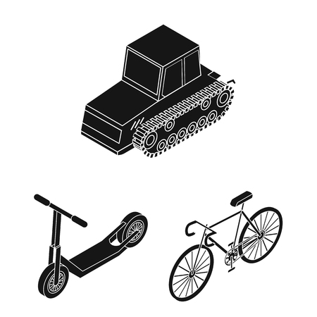 Different types of transport black icons in set collection for design. Car and ship isometric vector symbol stock web illustration.