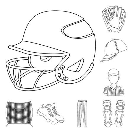 Baseball et attributs décrivent des icônes dans la collection de jeu pour la conception. Joueur de baseball et équipement vecteur symbole stock illustration web. Vecteurs