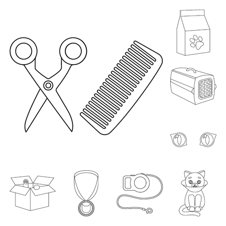 An animal cat outline icons in set collection for design. Caring for a cat vector symbol stock web illustration.