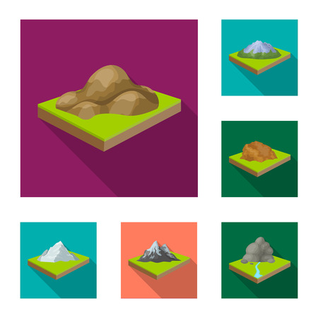 Mountains, massive flat icons in set collection for design. The surface of the earth vector isometric symbol stock web illustration.