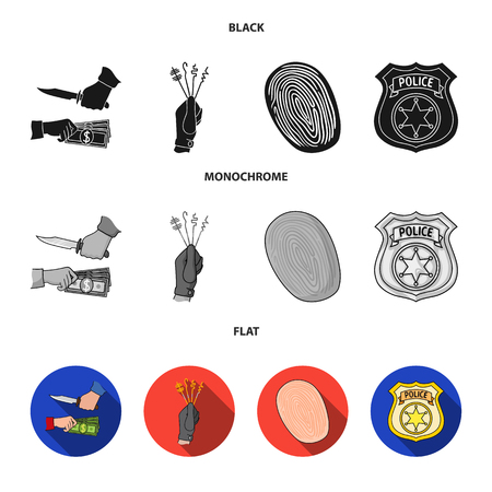 Robbery attack, fingerprint, police officer badge, pickpockets.Crime set collection icons in black, flat, monochrome style vector symbol stock illustration web.