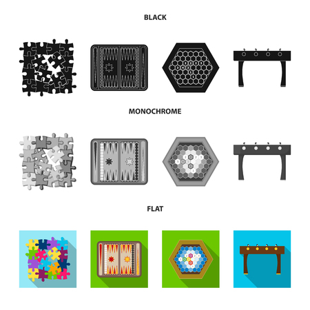Board game black, flat, monochrome icons in set collection for design. Game and entertainment vector symbol stock web illustration. Illustration