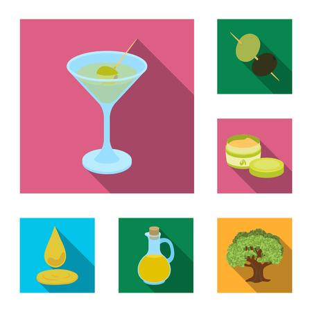 Olive, food flat icons in set collection for design. Olive oil, seasoning vector symbol stock web illustration.