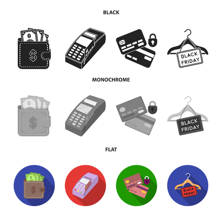 Purse, money, touch, hanger and other equipment. E commerce set collection icons in black, flat, monochrome style vector symbol stock illustration web. Illustration