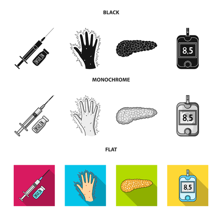Syringe with insulin, pancreas, glucometer, hand diabetic. Diabet set collection icons in black, flat, monochrome style vector symbol stock illustration web. 矢量图像
