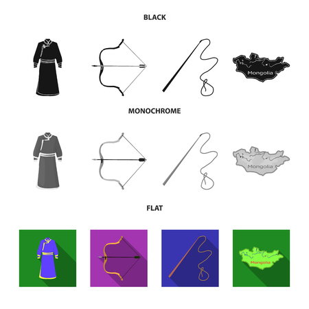 .mongol dressing gown, battle bow, theria on the map, Urga, Khlyst. Mongolia set collection icons in black, flat, monochrome style vector symbol stock illustration web. Illustration