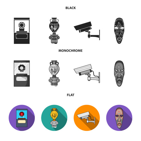 A diamond, a vase on a stand, a surveillance camera, an African mask. Museum set collection icons in black, flat, monochrome style vector symbol stock illustration web.
