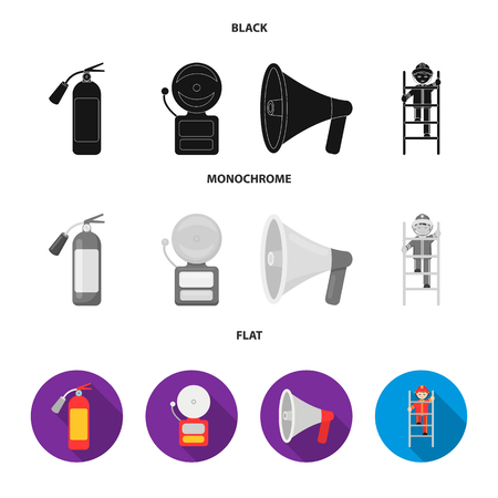 Fire extinguisher, alarm, megaphone, fireman on the stairs. Fire departmentset set collection icons in black, flat, monochrome style vector symbol stock illustration web.