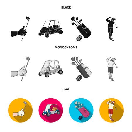 A gloved hand with a stick, a golf cart, a trolley bag with sticks in a bag, a man hammering with a stick. Golf Club set collection icons in black, flat, monochrome style vector symbol stock illustrat